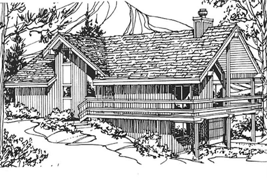 Front view of house plan.