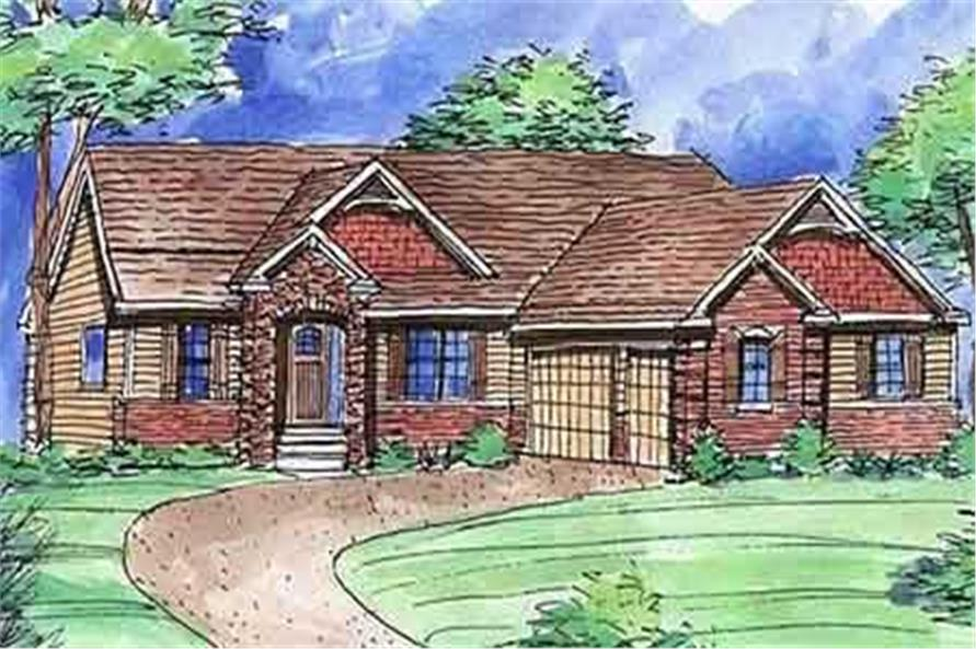 This is a colored rendering of these Ranch Homeplans.