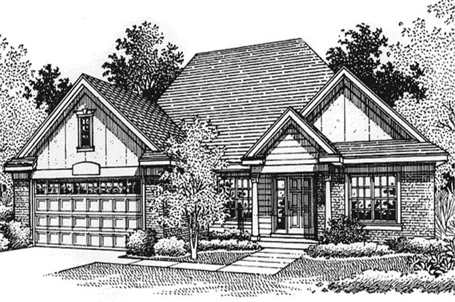 This image shows the front elevation of European Homeplans LS-B-95007.