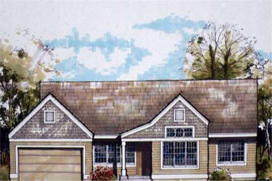 Ranch Homeplans LS-B-90005 colored front elevation.