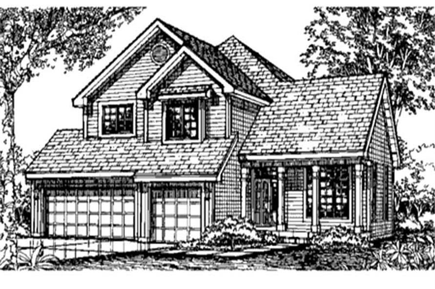 This is the front elevation of these Country Houseplans (LS-B-93003).