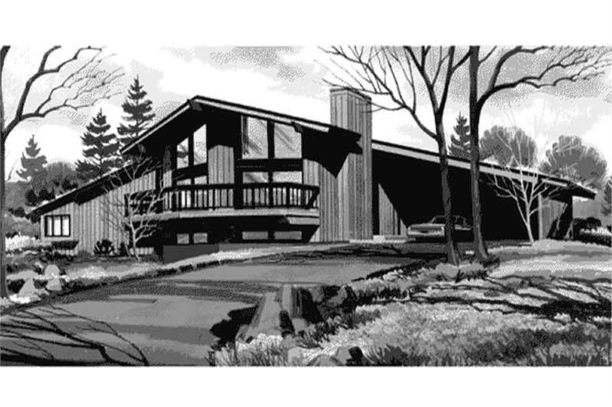 "This is a black and white rendering of these contemporary country homeplans ""LS-H-888-1."""