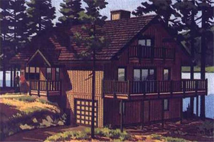 This is a colored rendering of Vacation House Plans LS-H-881-1A.