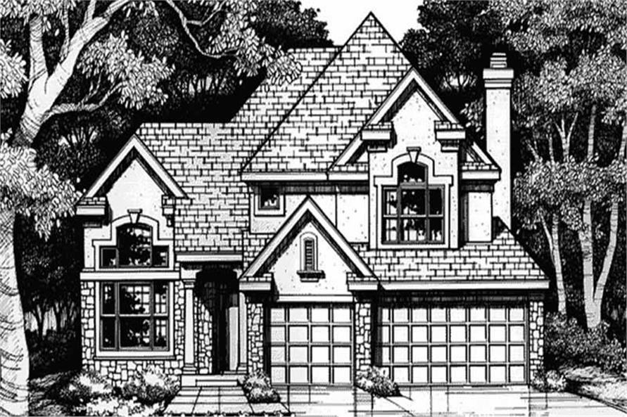 This front elevation show the European Style of these Homeplans LS-B-93030.