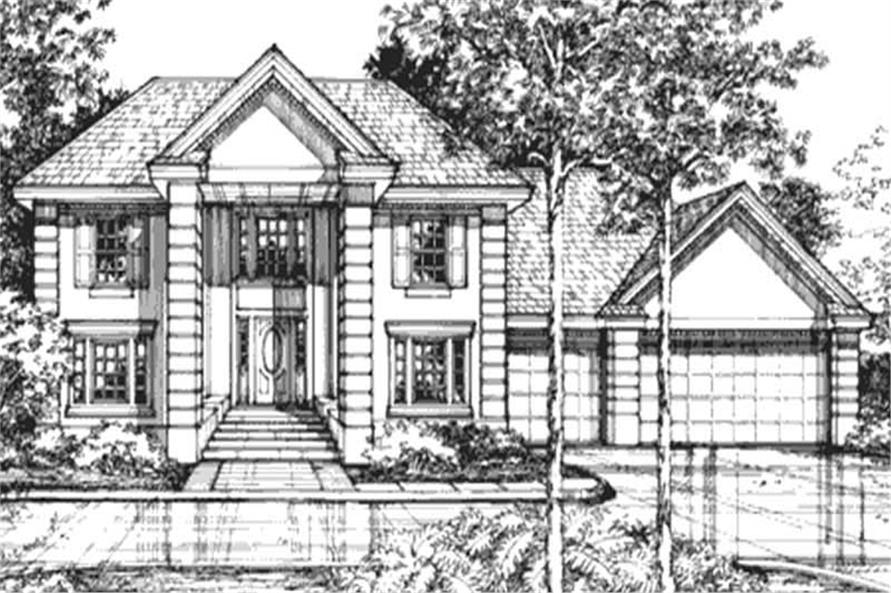 This is the front elevation of Colonial House Plans LS-B-92024.