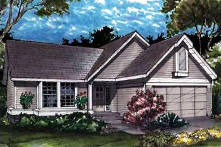 Ranch Homeplans LS-B-90060 Colored Rendering.