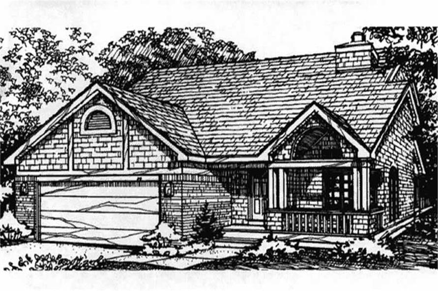 This image show the front elevation of country home plans LS-B-93033.