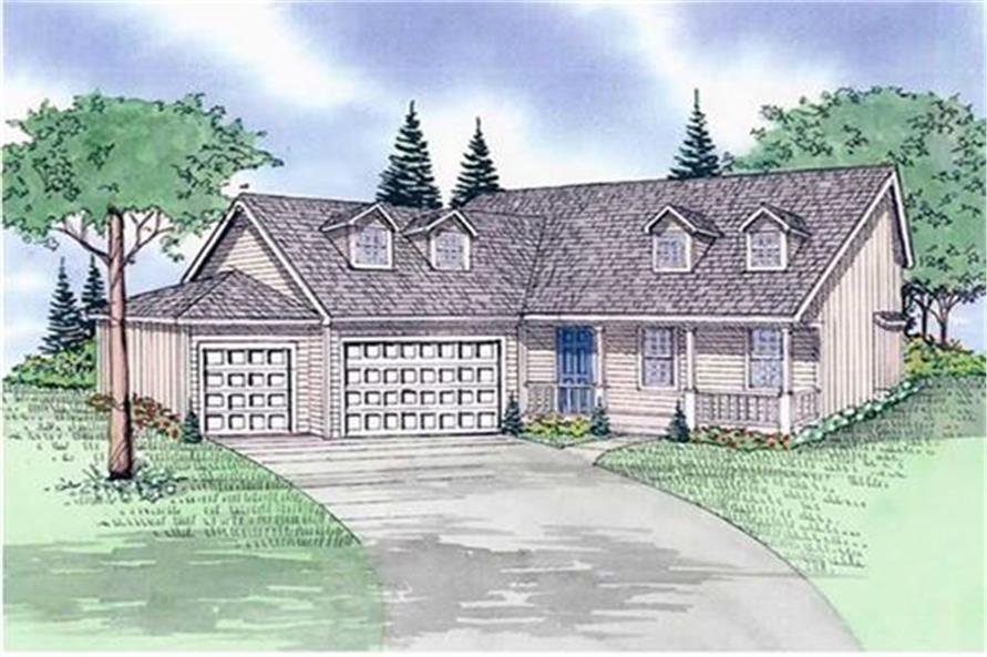 147-1077: Home Plan Rendering-Front Door