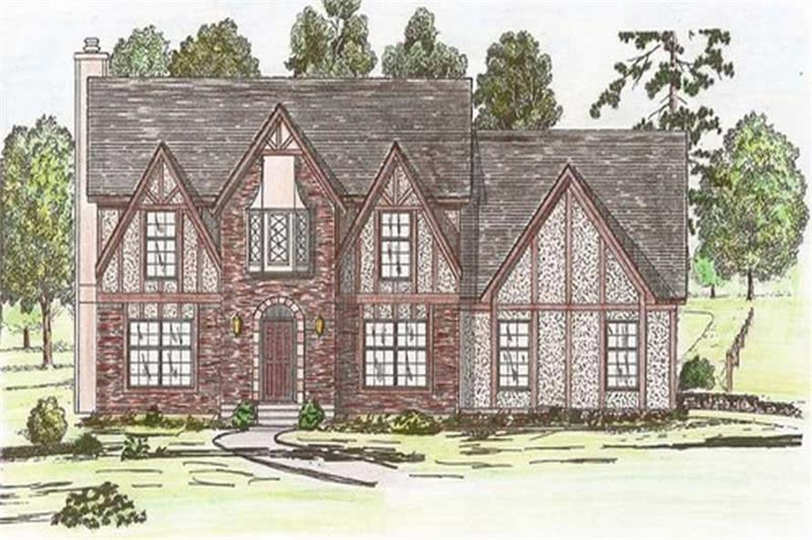 Front elevation of European home (ThePlanCollection: House Plan #147-1083)