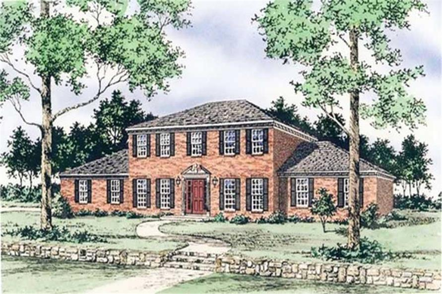 Front elevation of European home (ThePlanCollection: House Plan #147-1093)