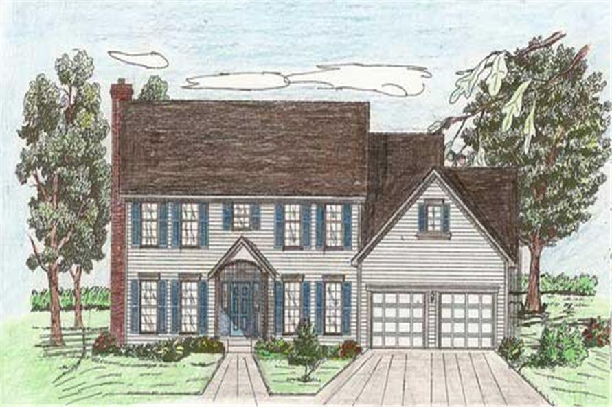 Front elevation of European home (ThePlanCollection: House Plan #147-1112)