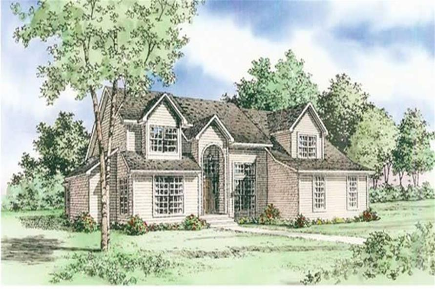 Front elevation of Farmhouse home (ThePlanCollection: House Plan #147-1116)