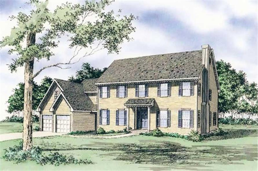 Front elevation of European home (ThePlanCollection: House Plan #147-1122)