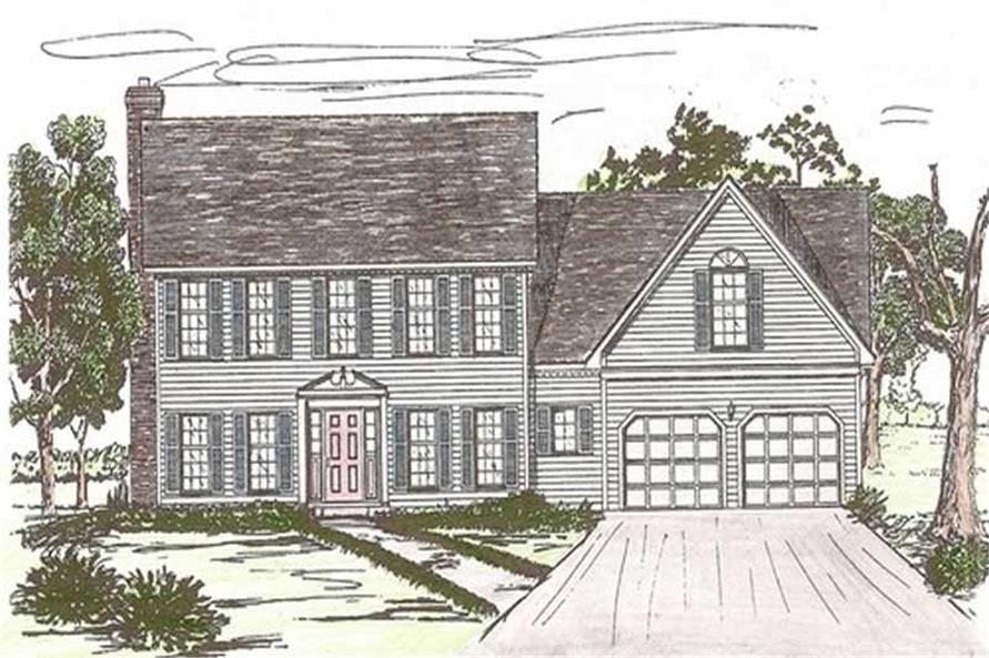 Front elevation of European home (ThePlanCollection: House Plan #147-1128)