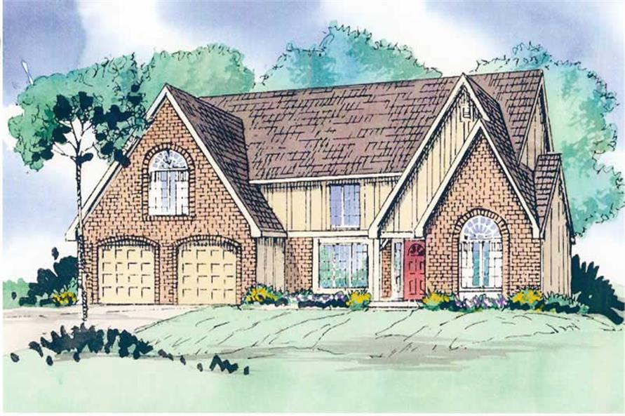 Front elevation of European home (ThePlanCollection: House Plan #147-1133)