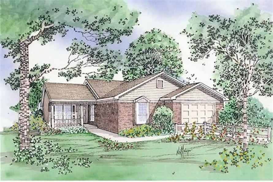 Front elevation of Country home (ThePlanCollection: House Plan #147-1135)