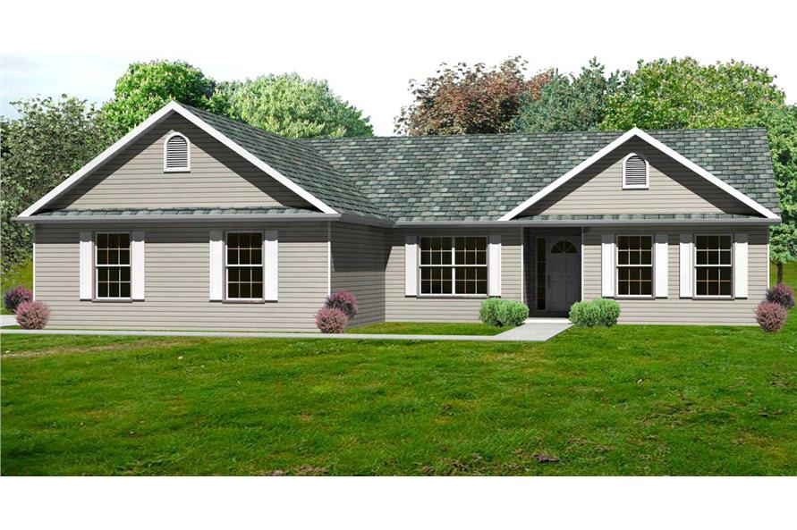 This is the computer-generated rendering of these Traditional Ranch Home Plans.