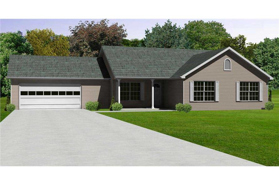 This is the front elevation for these Ranch Home Plans.