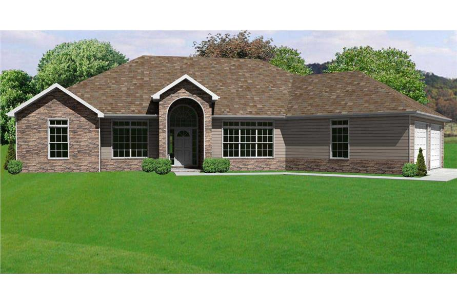 This is a computer rendering of these Ranch Home Plans.