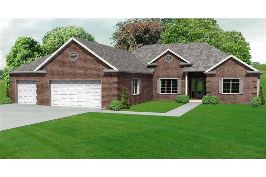 This is another computer rendering of these Ranch House Plans.