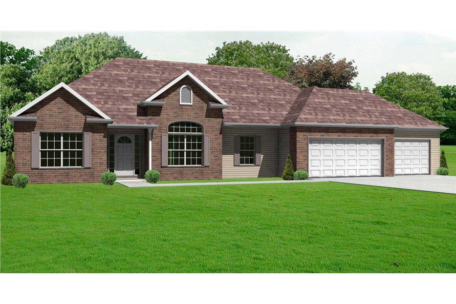 This image shows a computerized 3D front elevation rendering for these Ranch Home Plans.
