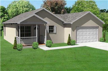 3-Bedroom, 936 Sq Ft Ranch Home Plan - 148-1068 - Main Exterior