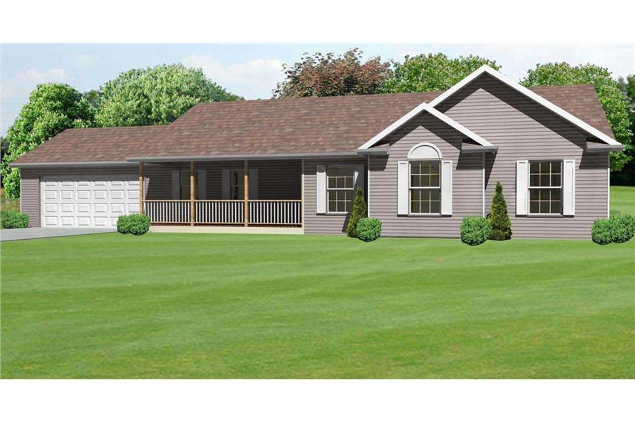 This image shows these Ranch Houseplans from the front.