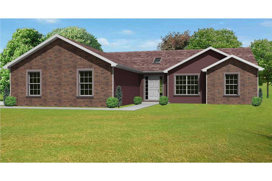This image shows the front of these Ranch Houseplans.