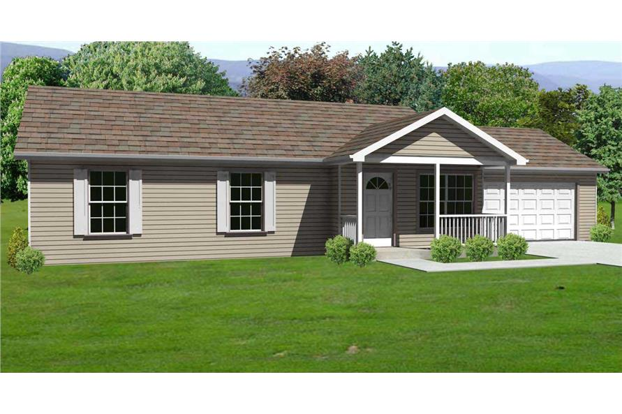 This is the front elevation for these Small Ranch Homeplans.