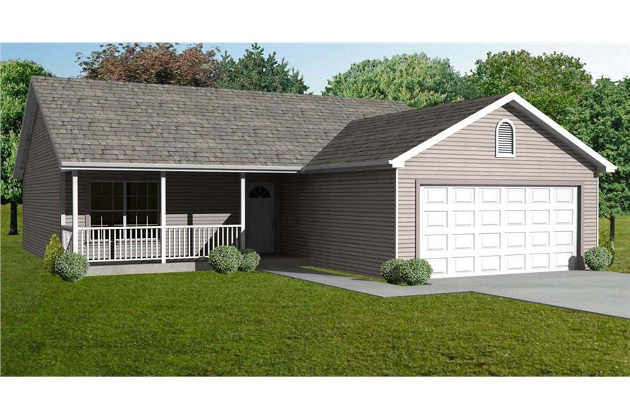 This is a colorful computer rendering of these Ranch Houseplans.