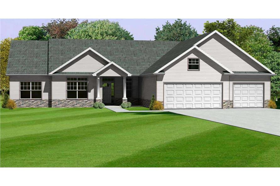 This is a computer rendering of these Ranch House Plans.