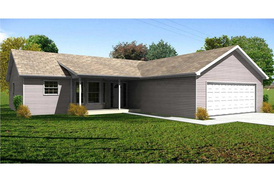 This is a high quality computerized rendering of these Ranch House Plans.