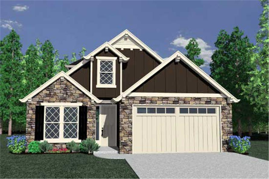 This is the front elevation for these Cottage House Plans.