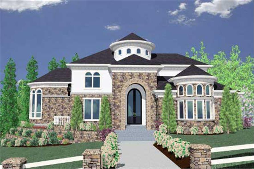 This is a 3-dimensional computer rendering of these Luxury Home Plans.