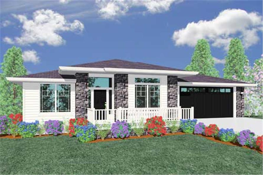 This is the front elevation of these Prairie House Plans.