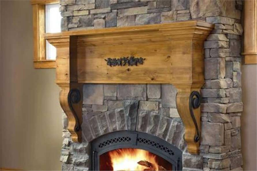 This image shows the beautiful fireplace.