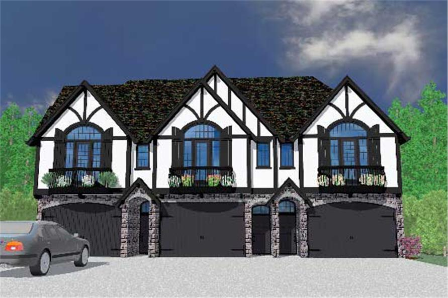 This is the front elevation for these Multi-Unit Home Plans