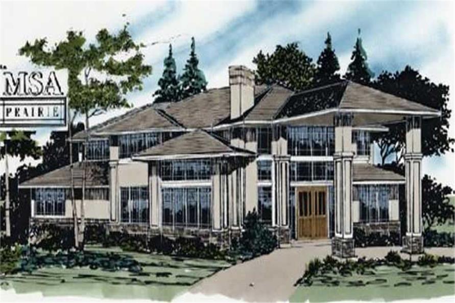Modern House Plans msap-3855 color rendering.