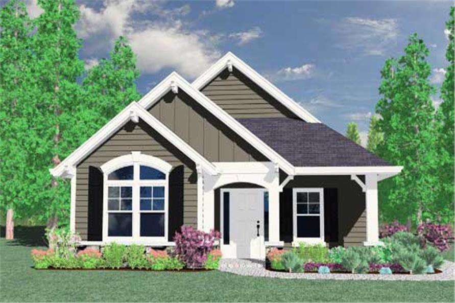 This is the front elevation for these Country House Plans.