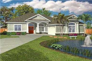 3-Bedroom, 1784 Sq Ft Florida Style House Plan - 150-1000 - Front Exterior