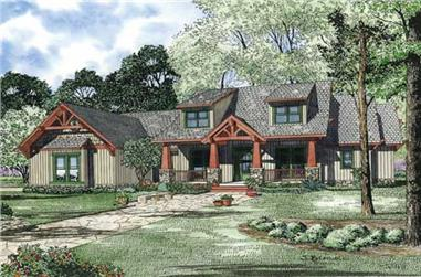 This is an artist's rendering of Craftsman Home Plan #153-1020.