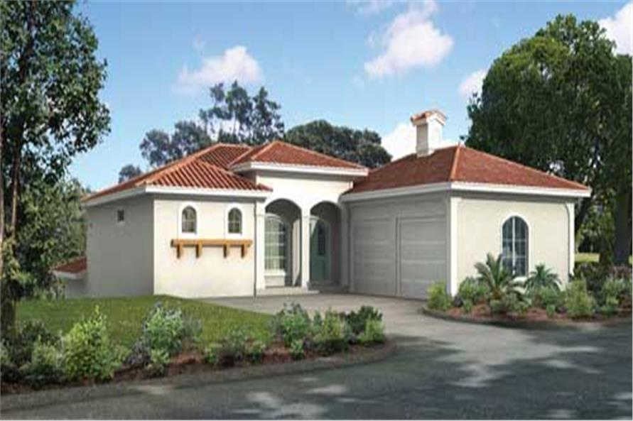 This is a computer image of the front of these Mediterranean Homeplans.