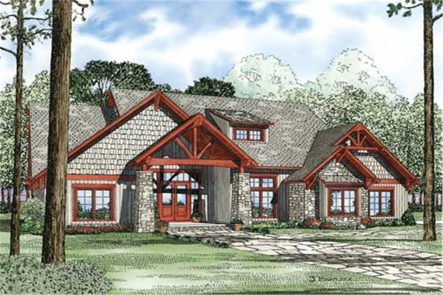 This is a colored rendering of these craftsman home plans.