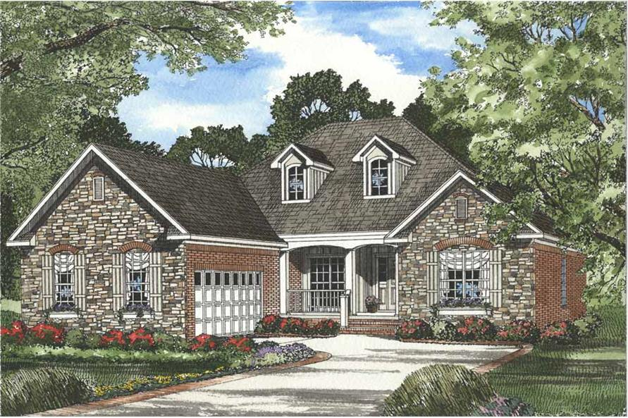 Front elevation of Country home (ThePlanCollection: House Plan #153-1061)