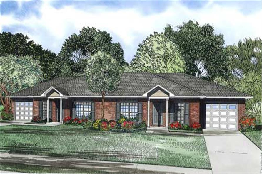 This is the front elevation from these Duplex House Plans.