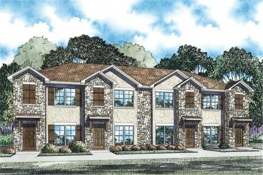 This is an artist's rendering for these Multi-Unit Home Plans.