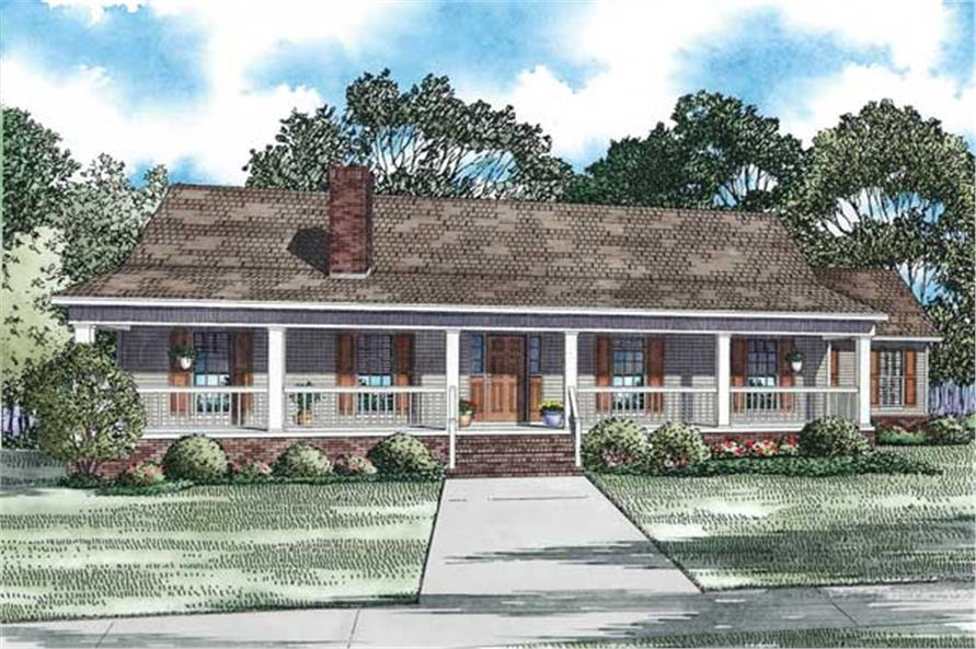 This is the front elevation for these Country Home Plans.