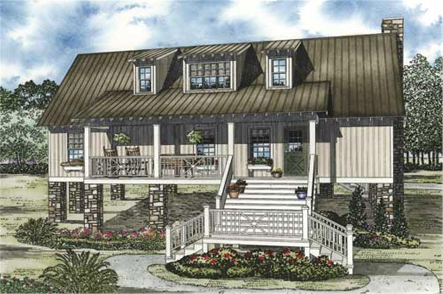 This image shows the front elevation for these Country House Plans, Southern House Plans.