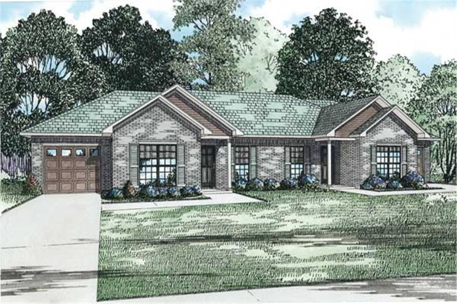 This is the front elevation of these Duplex House Plans.