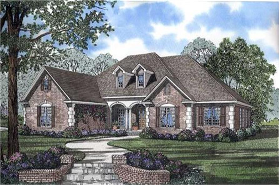 153-1417 house plan front rendering